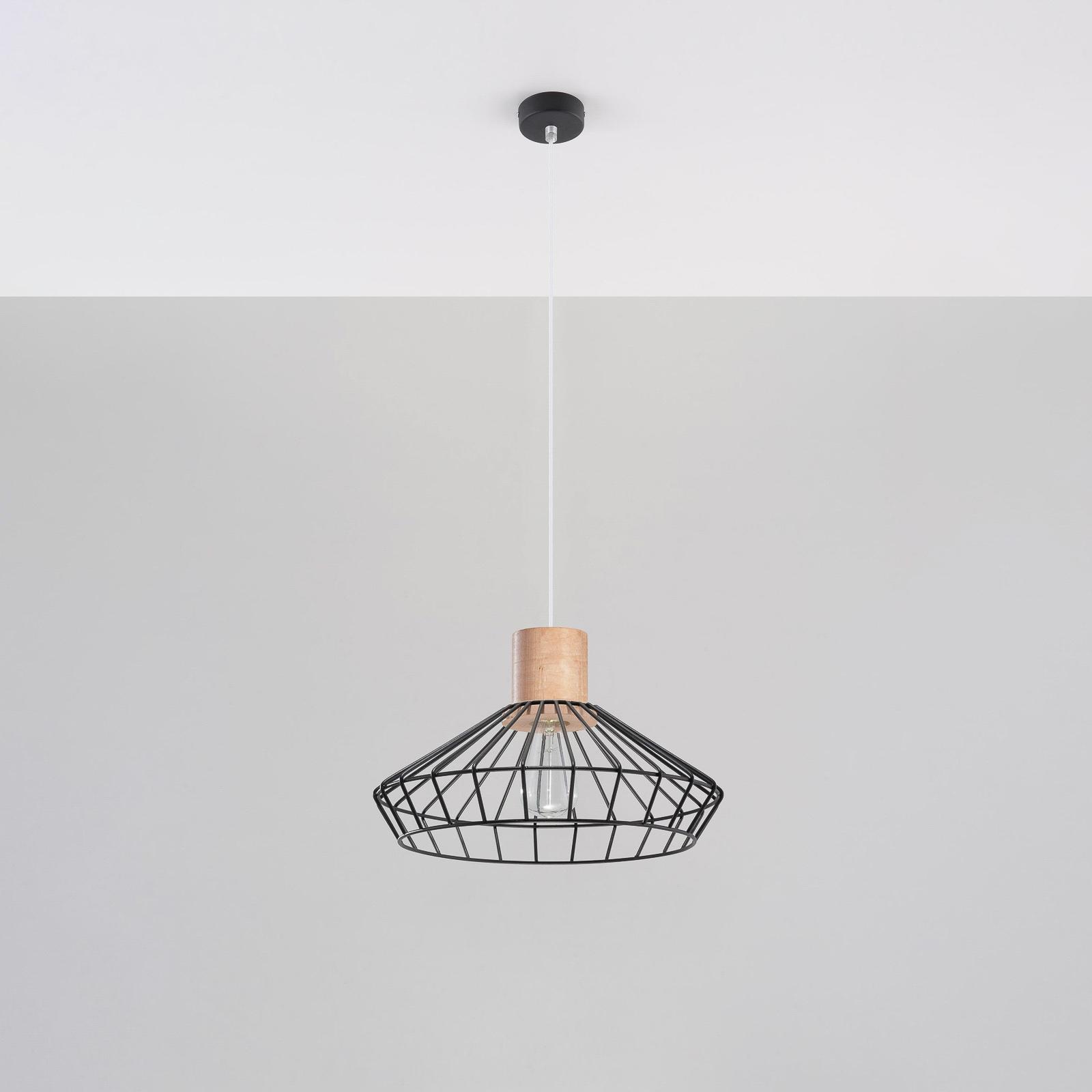 Lampa wisząca Grid, kratowy klosz, drewno, Ø 37 cm