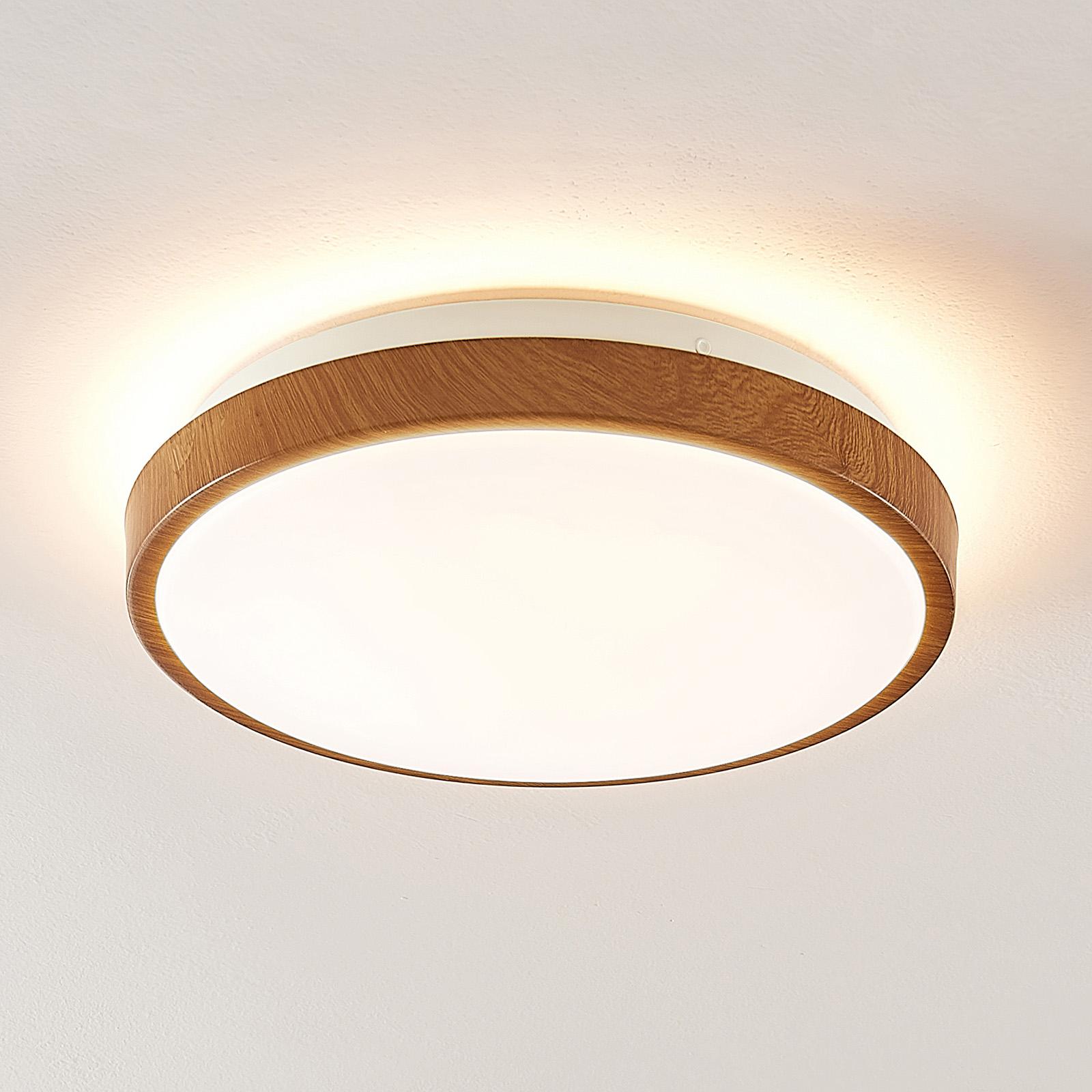 Lindby Mendosa plafón LED, aspecto madera, redondo