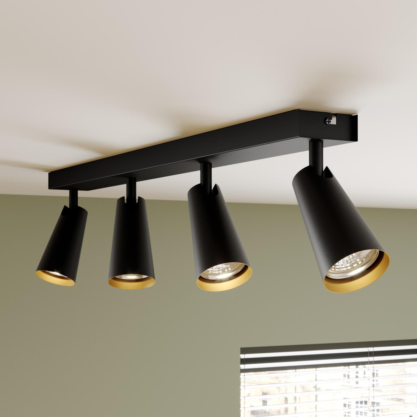 Lucande Angelina loftlampe sort-guld, 4 lyskilder
