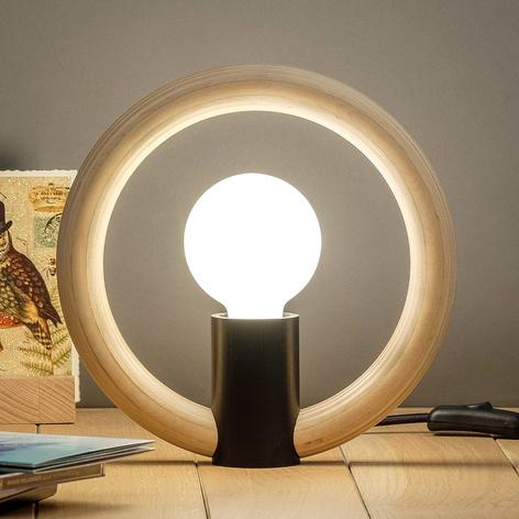 Lámpara de mesa Rink con aro de madera