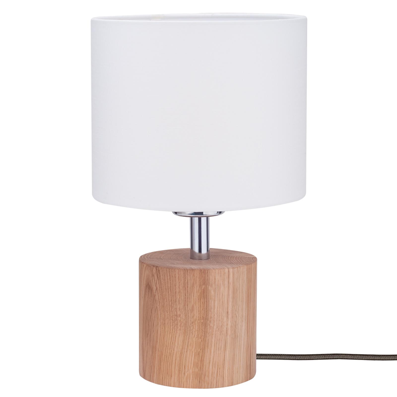 Lampa stołowa Trongo, dąb olejowany, biały klosz