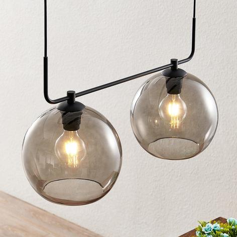 Lindby Dasita lámpara colgante vidrio humo 2 luces