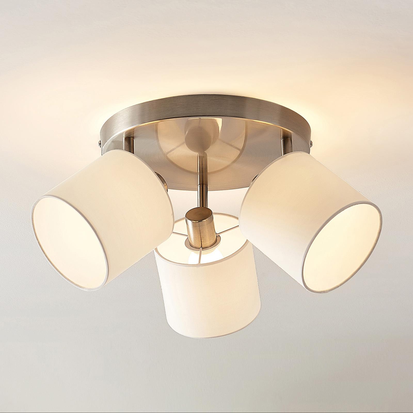 Lindby Stannis taklampe med tekstil, 3 lyskilder
