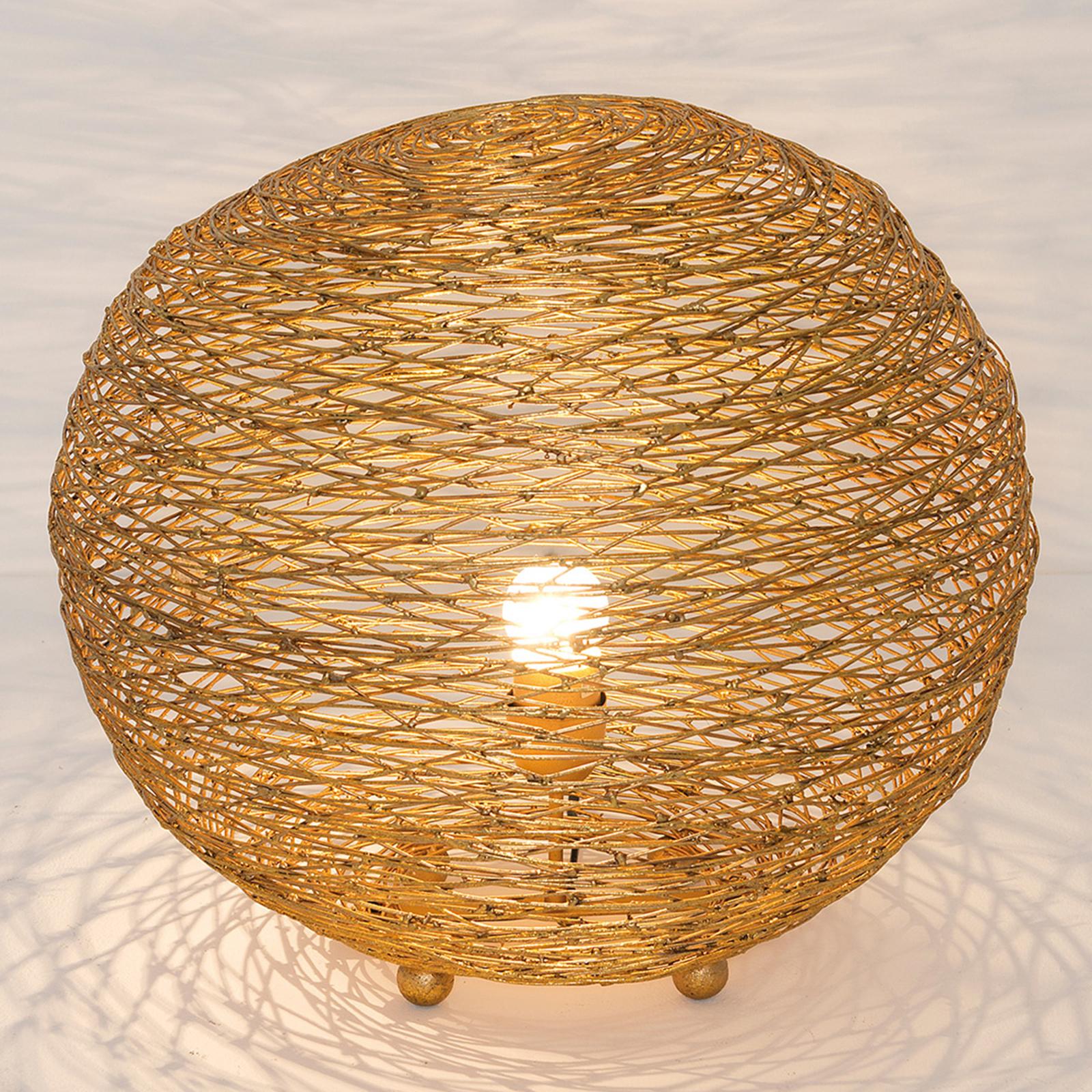 Tafellamp Campano goud, 40 cm doorsnede