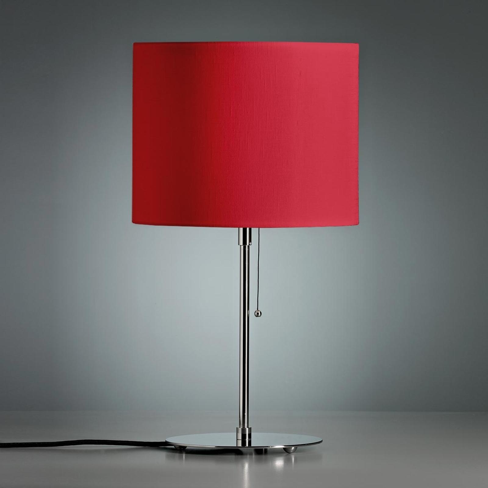 Tafellamp met gekleurde linnen kap, rood