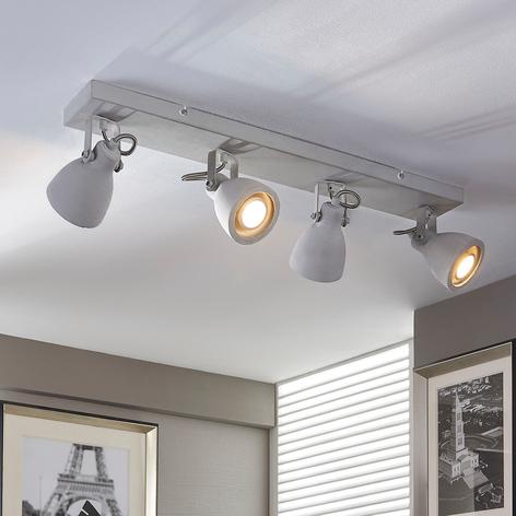 Vierlamps beton-plafondlamp Kadiga