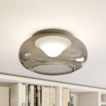 Lámpara LED de techo de vidrio Mijo en gris humo