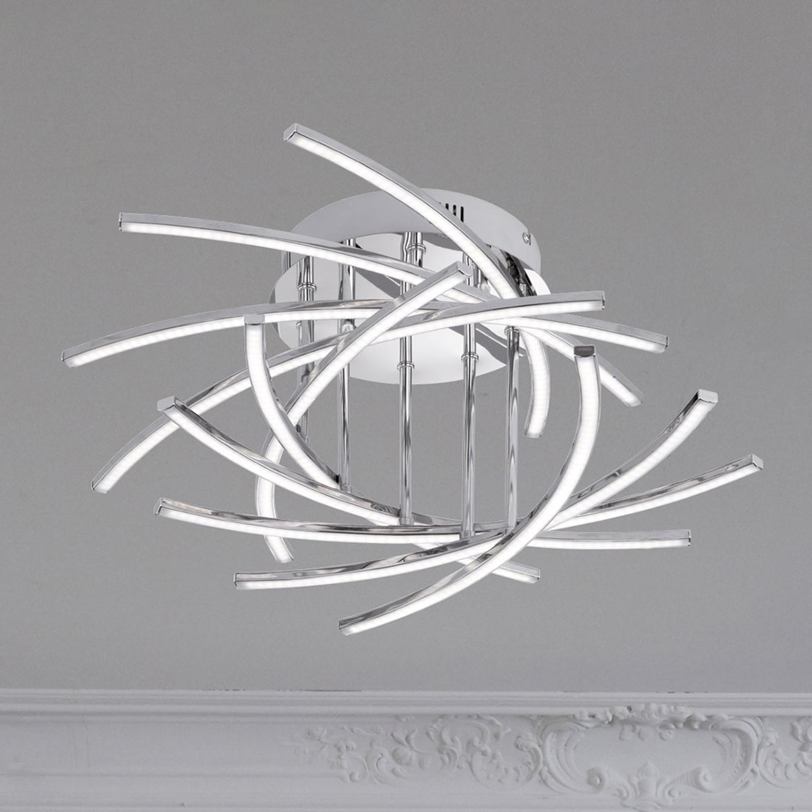 Lámpara LED de techo Cross 10 luces, cromo