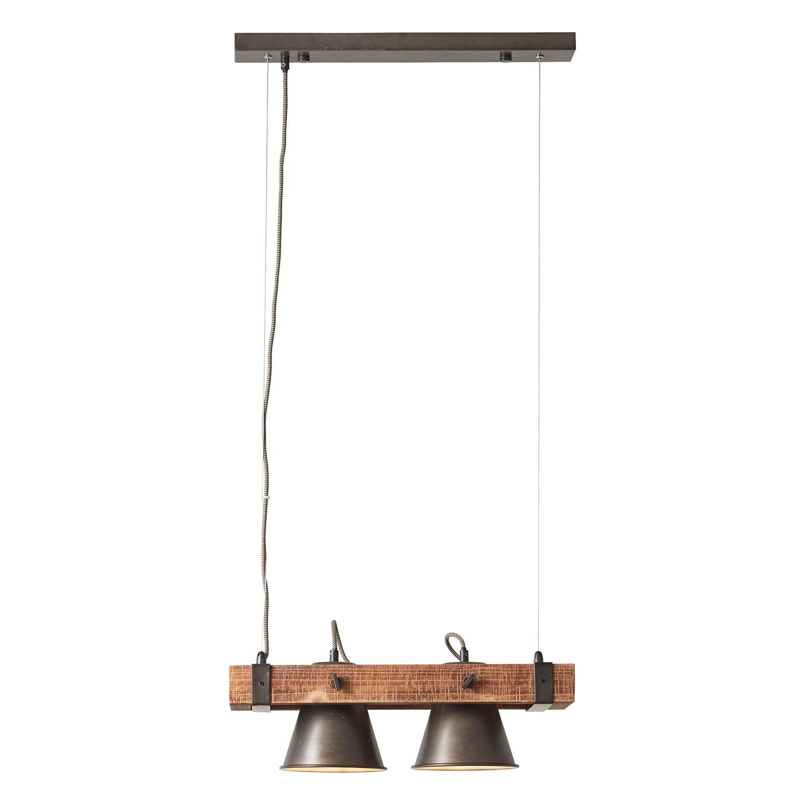 Suspension Plow à 2 lampes, noire/bois foncé