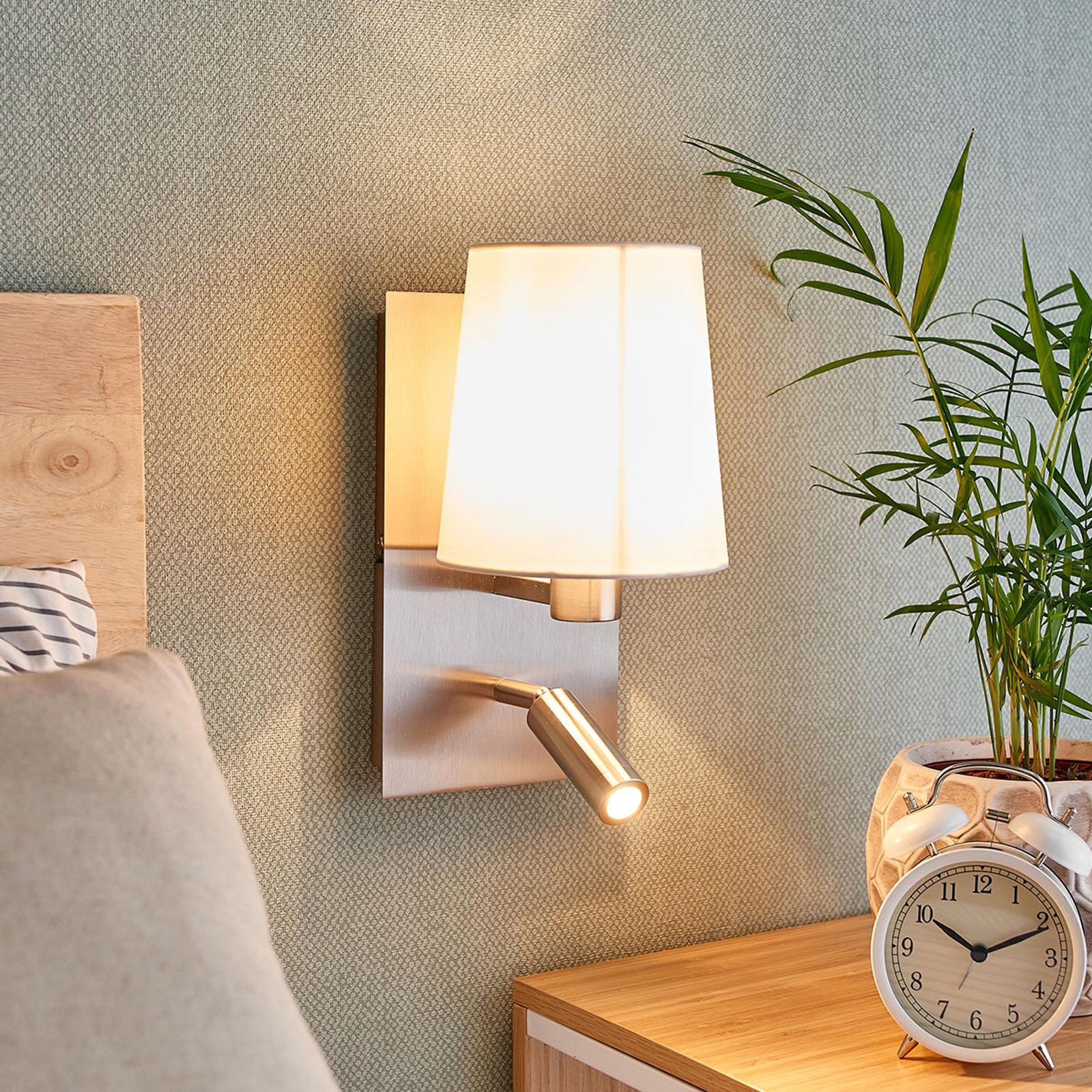 Vegglampe Aiden med LED-leselys, hvit, nikkel