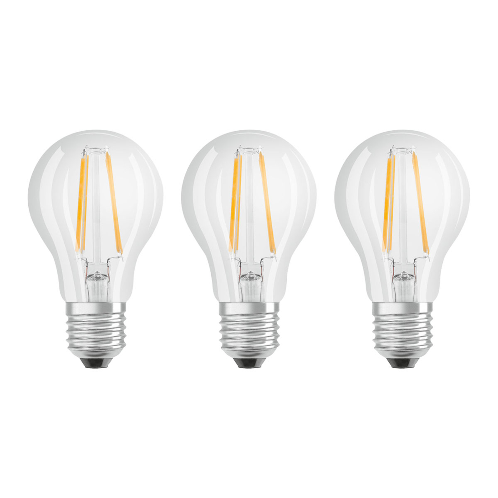 OSRAM LED-Lampe E27 Classic Fil. 840 7W klar 3er