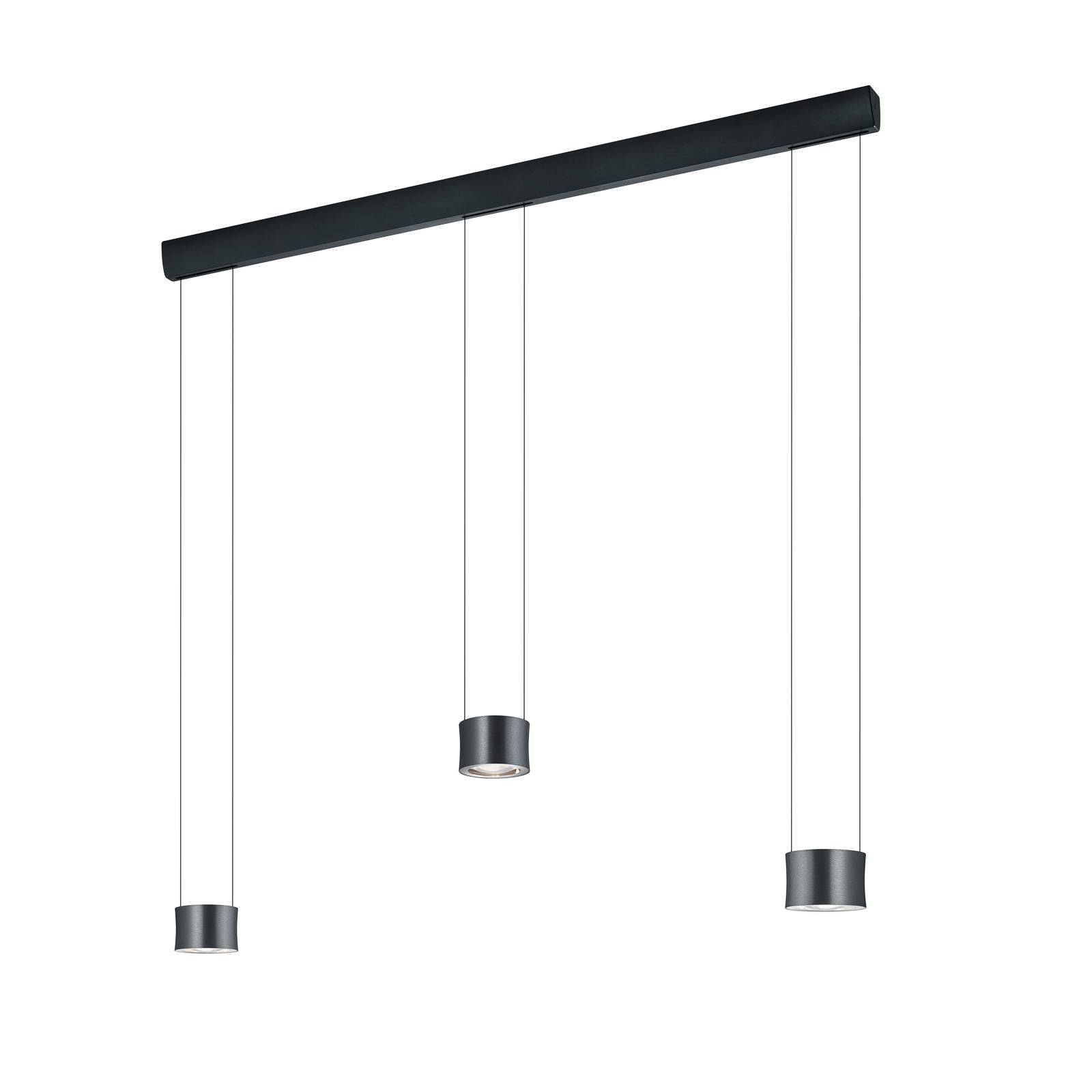 BANKAMP Impulse LED hanglamp 3-lamps antraciet