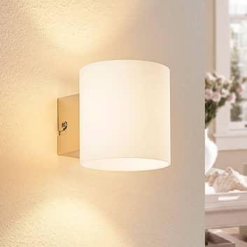 Hvit LED-vegglampe Gerrit i glass