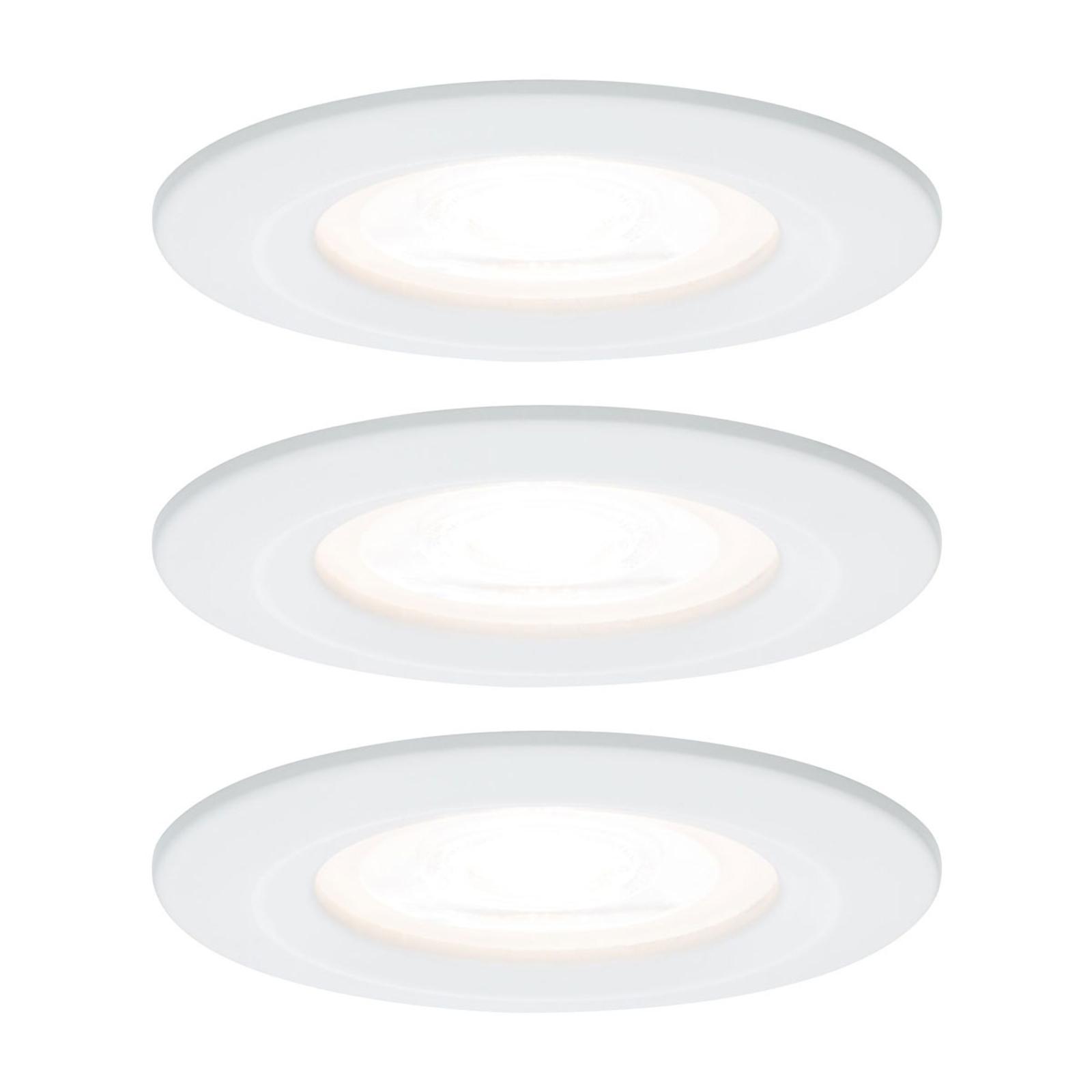 Paulmann 3p LED-spot Nova rund, IP44, dimbar, hvit