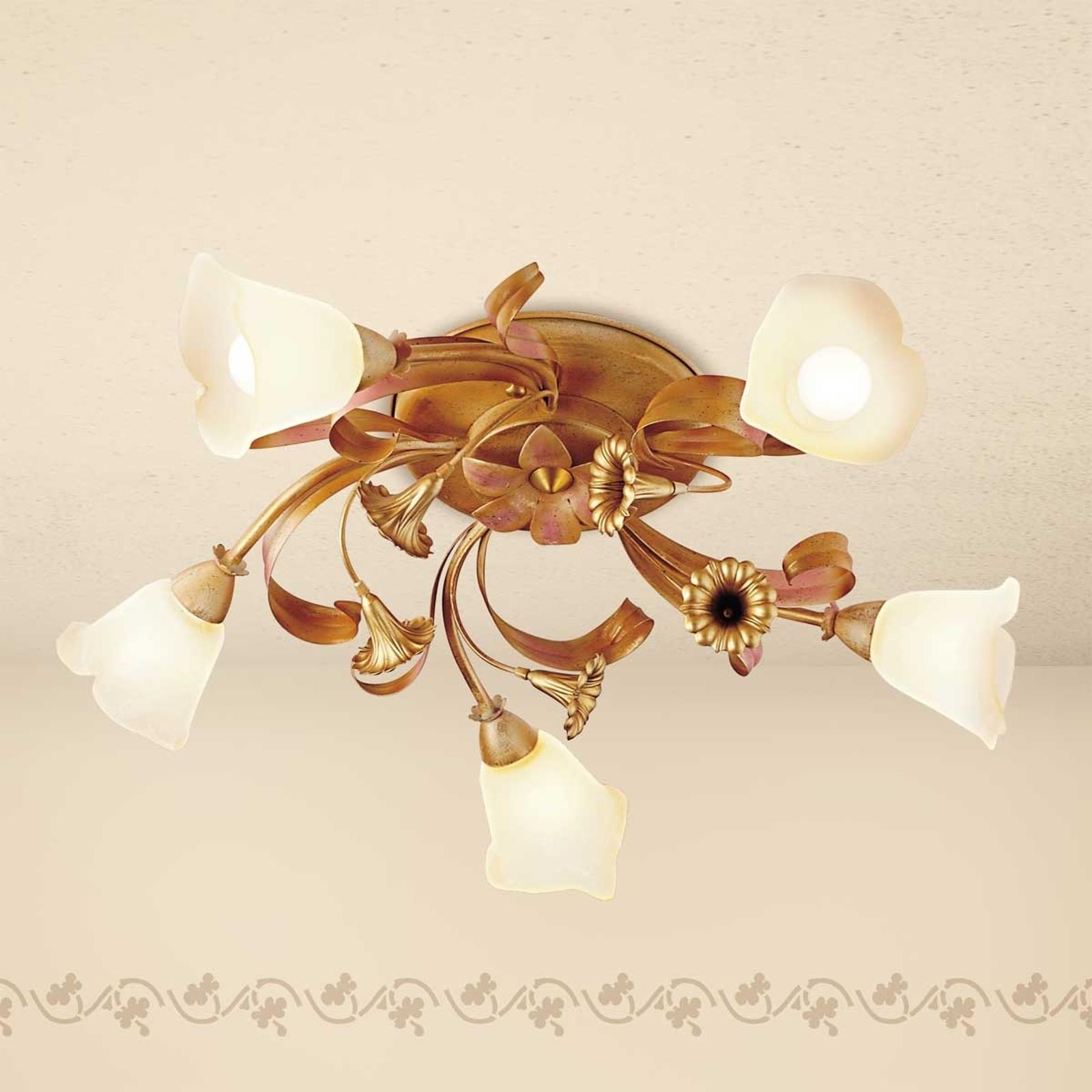 Gyllen taklampe Giovanni i florentinsk stil, 5 lys