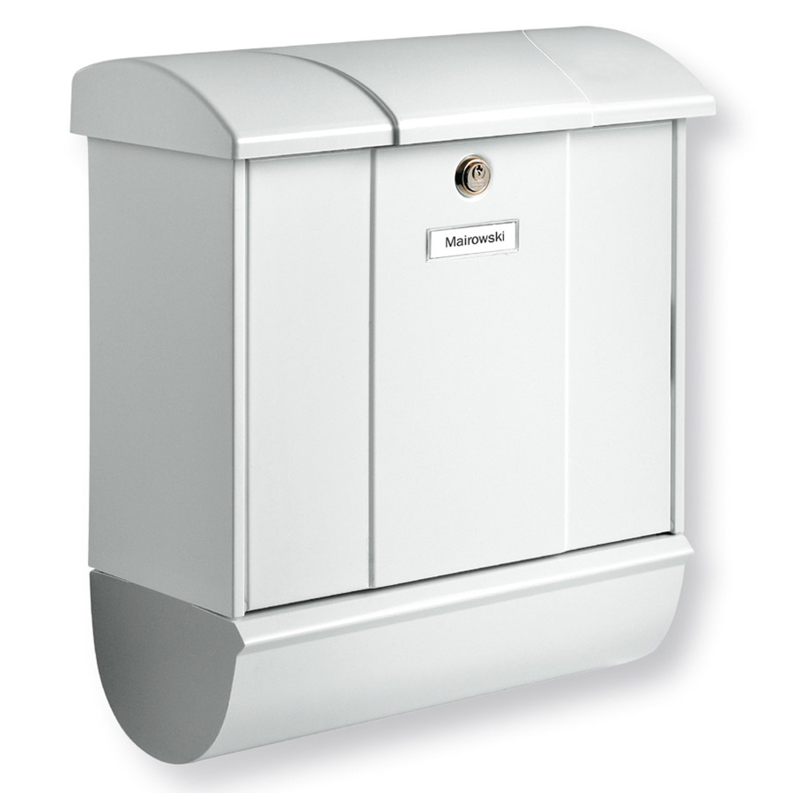 Olymp-postilaatikko sanomalehtilokerolla valkoinen