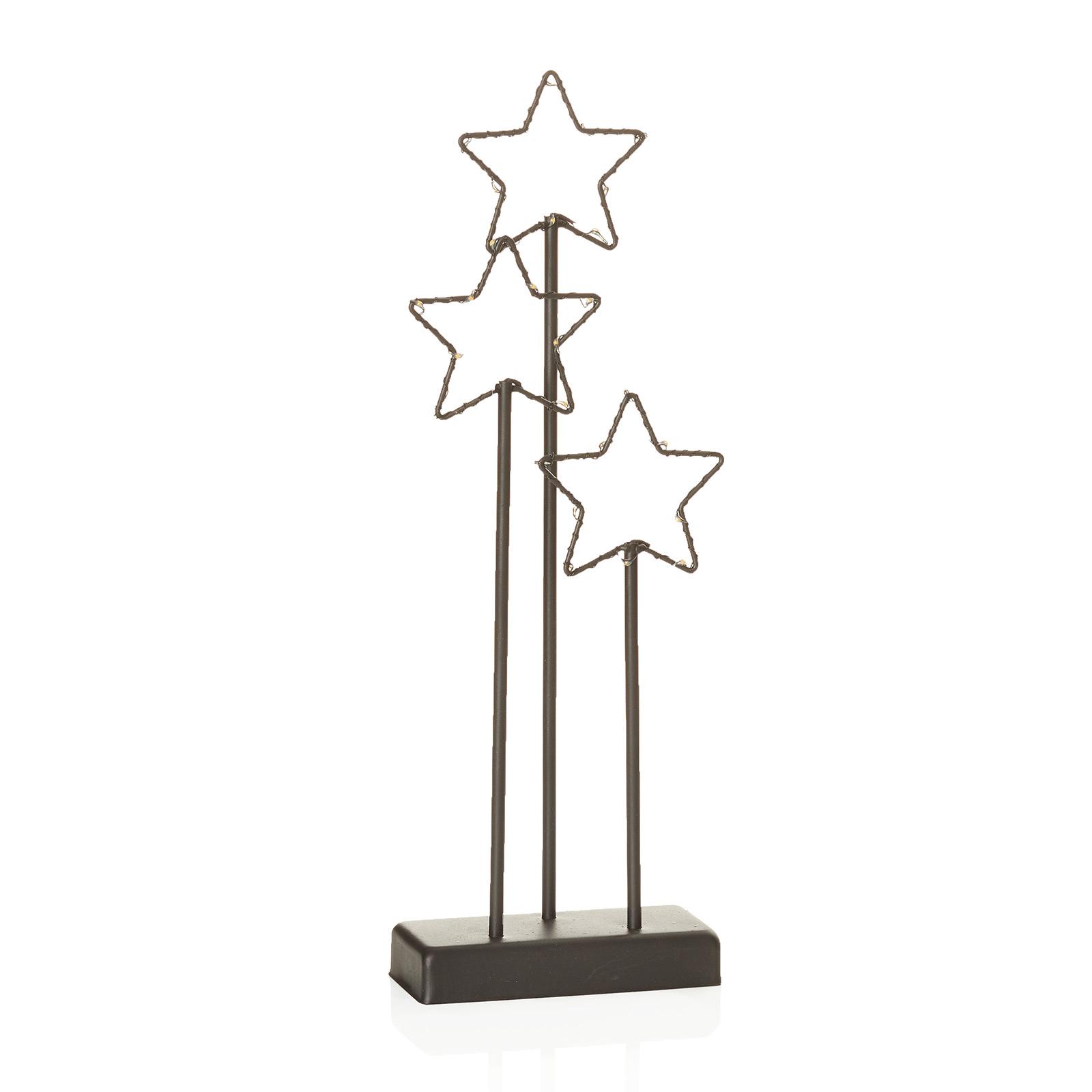 Lampe déco LED 3 étoiles Stary noire