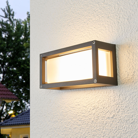 Lámpara de pared exterior Aurelien con marco gris