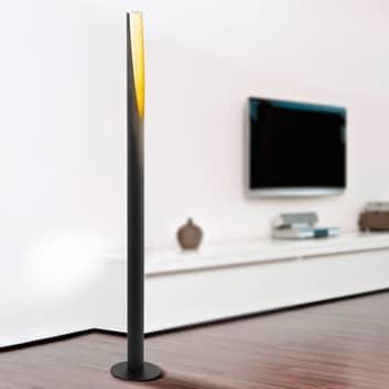 Lámpara de pie LED Barbotto en negro/oro