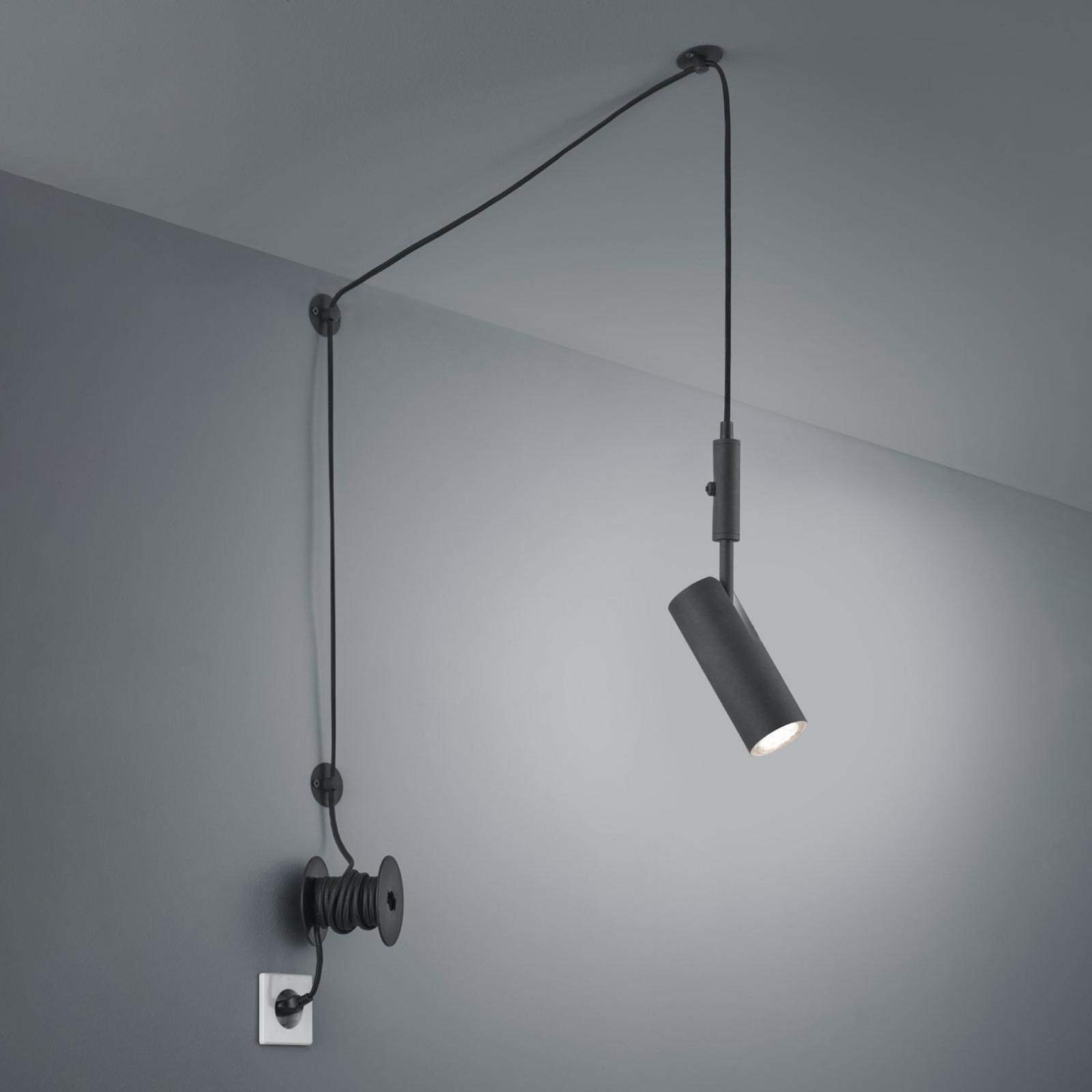 Lampa wisząca Carla decentryczna z wtyczką czarna