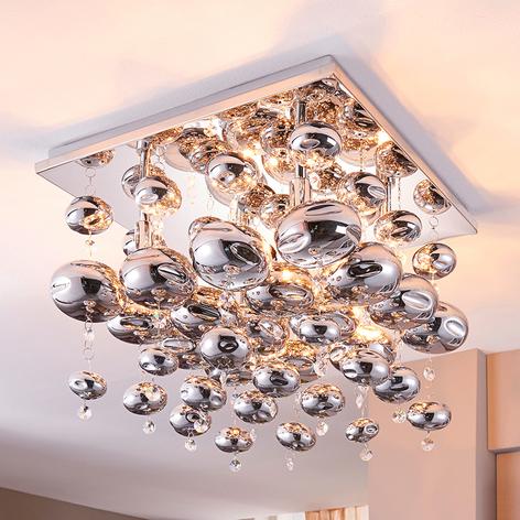 Met glasbollen behangen plafondlamp Esfera