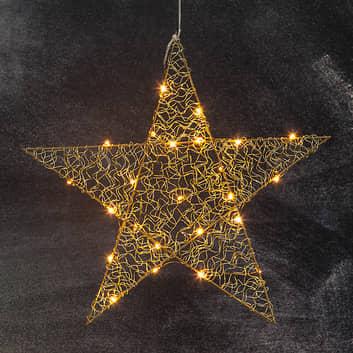 LED-stjerne Loop med fem takker 47 cm messing