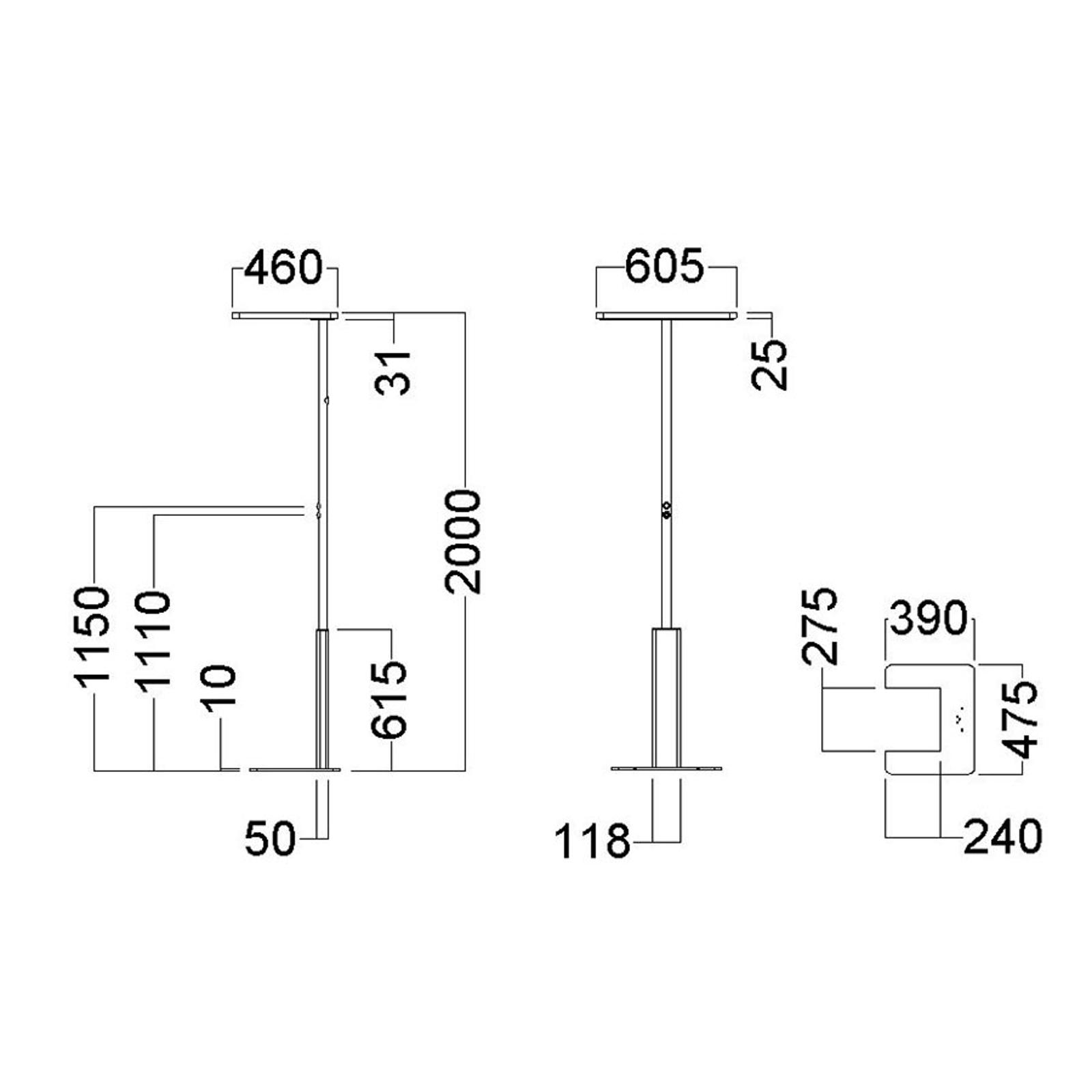 LED kantoor vloerlamp LINEA-F, dimbaar, CCT, grijs