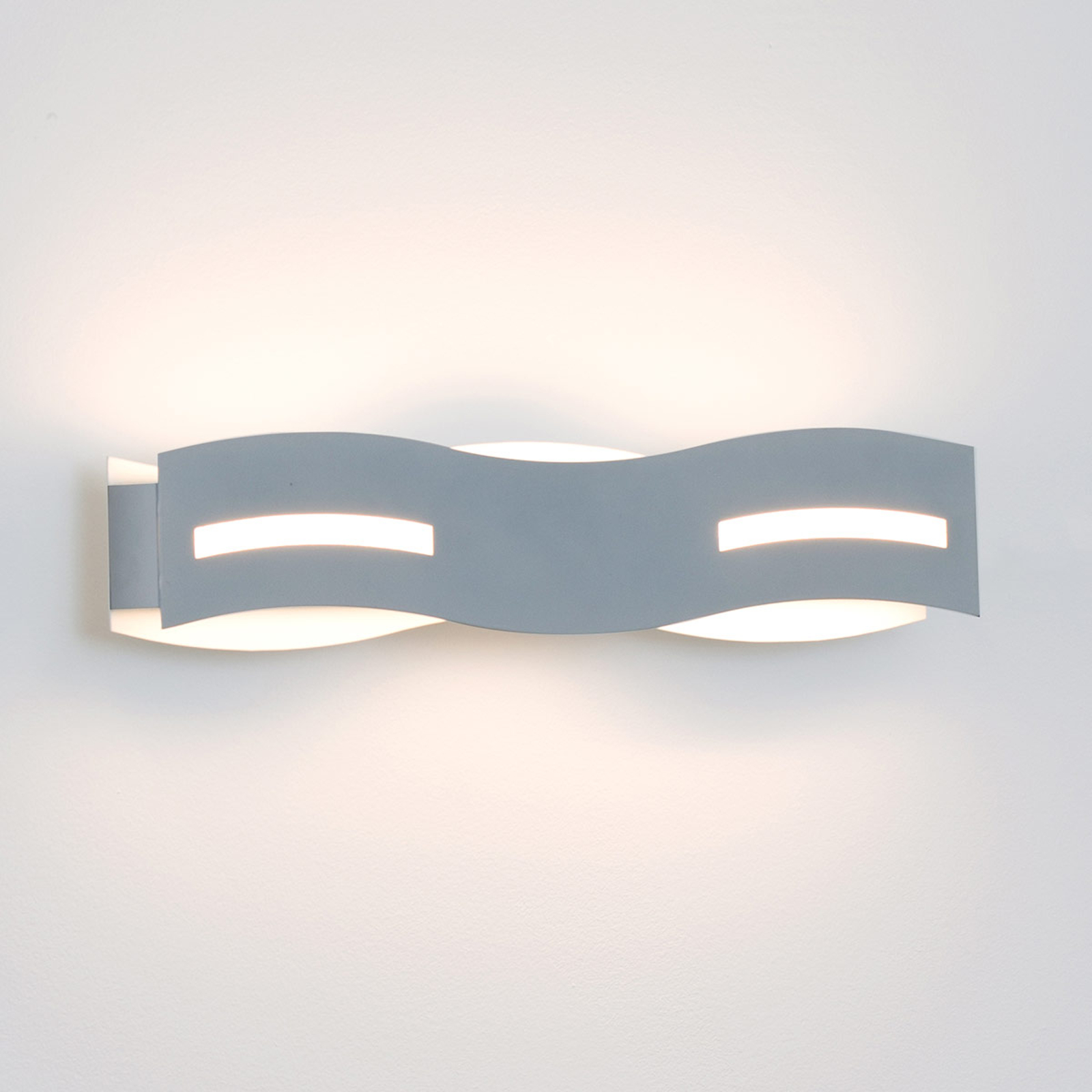 LED wandlamp Wave nikkel