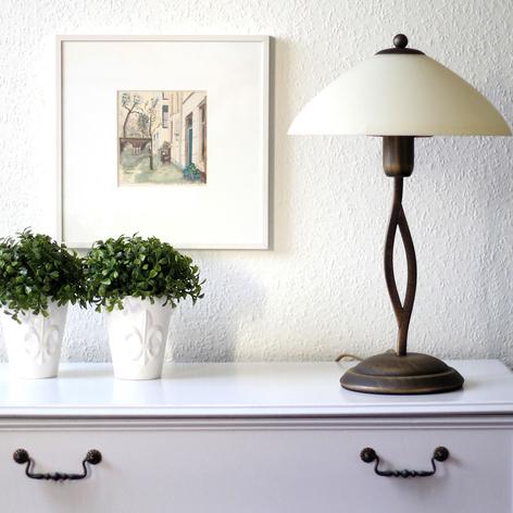 Lampada da tavolo Capri alta 45 cm crema/bronzo