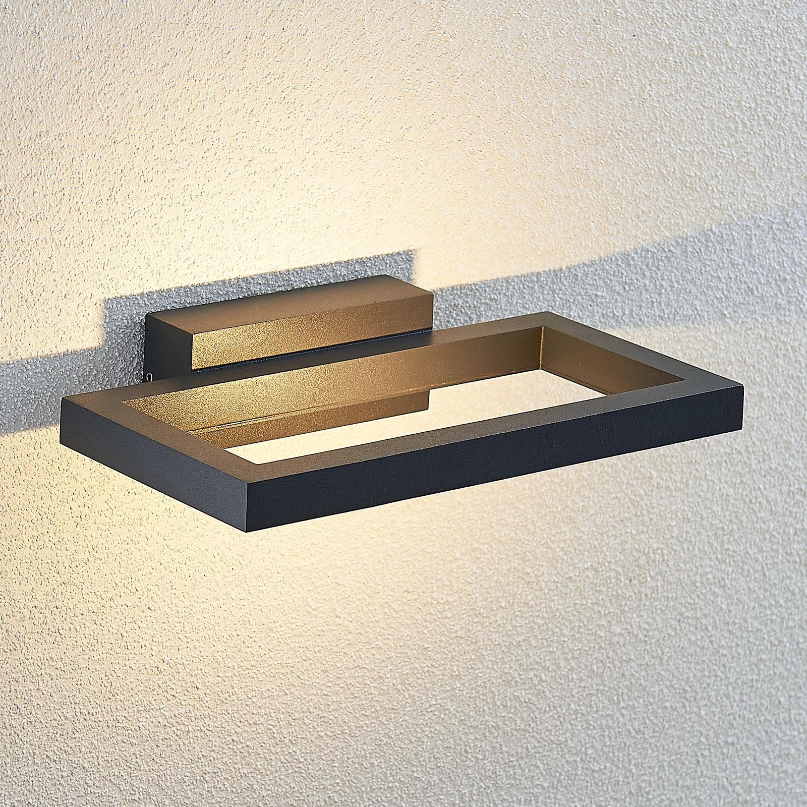 LED buitenwandlamp Loki, donkergrijs, 26 cm