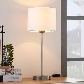 Biała lampa stołowa Annatina z kloszem z tkaniny