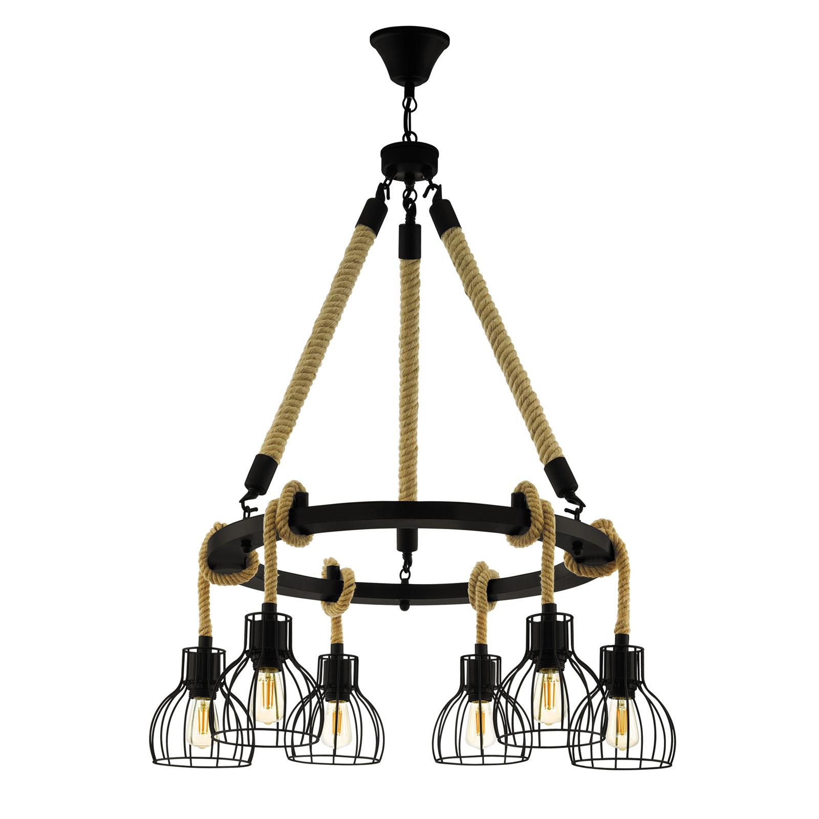 Lámpara colgante Rampside con 6 pantallas de jaula