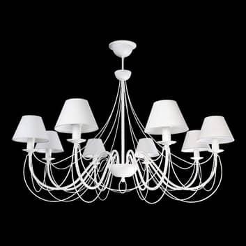 Lámpara de araña Bona, pantallas textiles, blanco