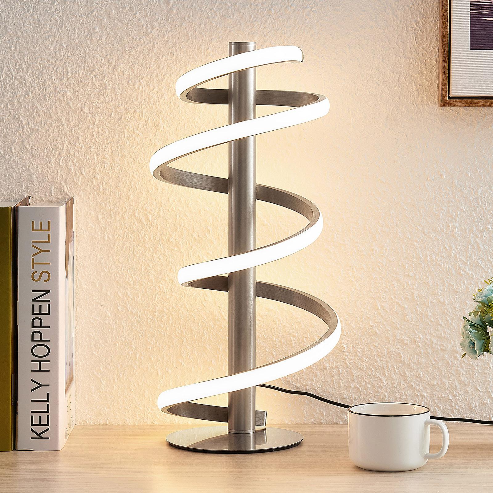 Lucande Milora lámpara de mesa LED níquel satinado