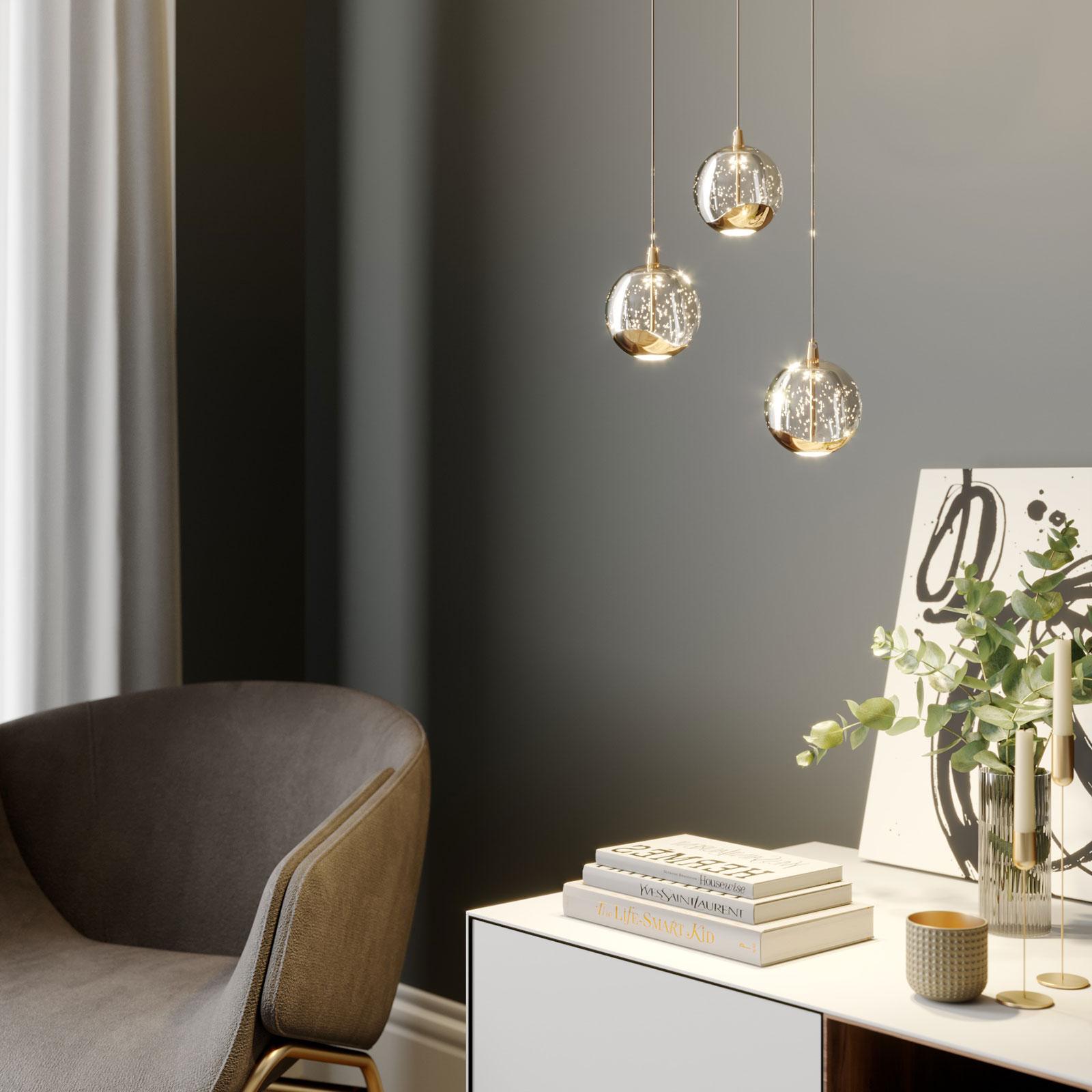 Lampa wisząca LED Hayley szklana kula 3-pkt. złota