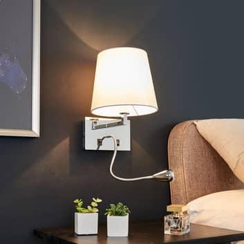 Vegglampe Leonella i tekstil, med LED-leselampe