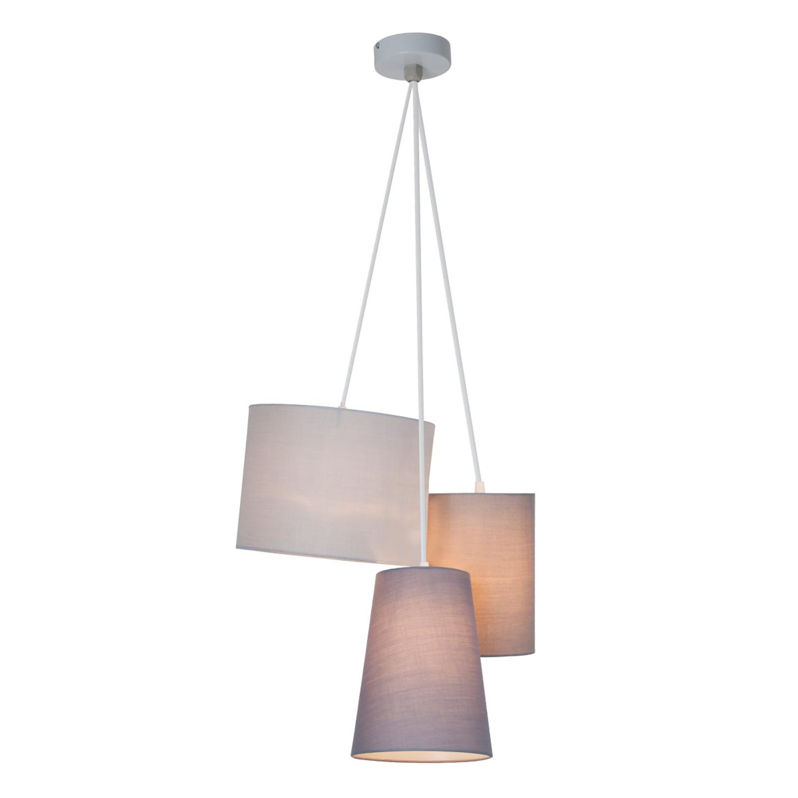 Tříbaňkové závěsné světlo s tkaninovými stínidly