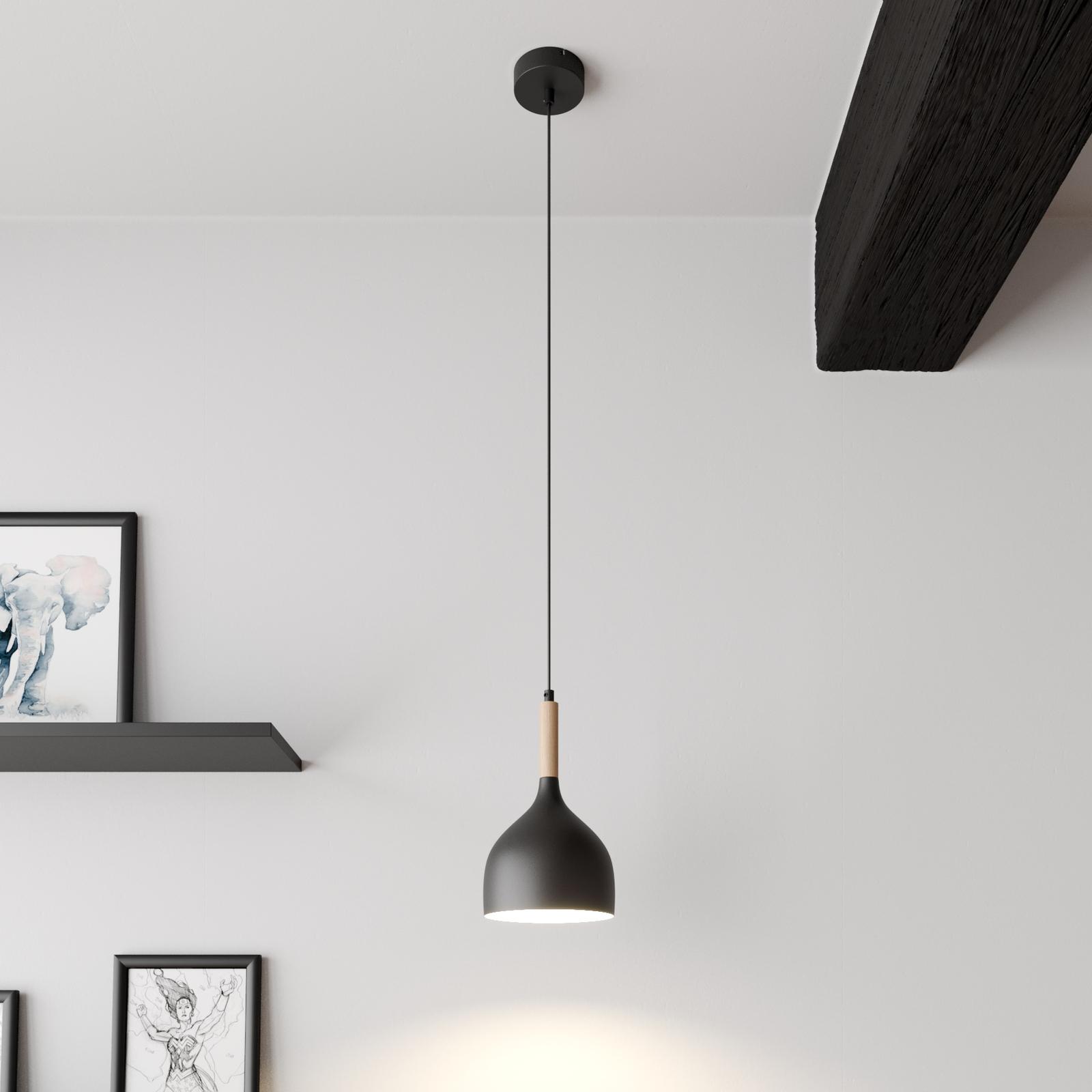 Noak hængelampe, 1 lyskilde, sort/naturtræ