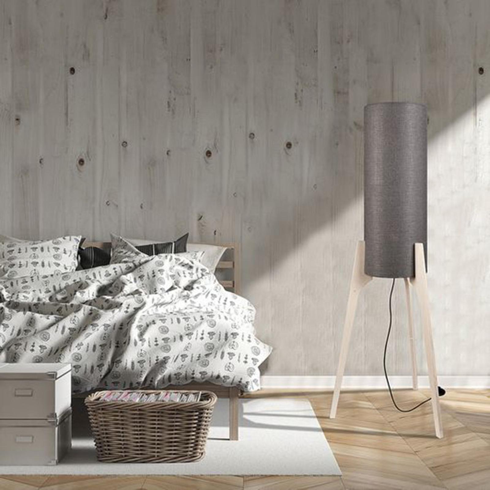 Vloerlamp Neo M met driepootsframe van hout