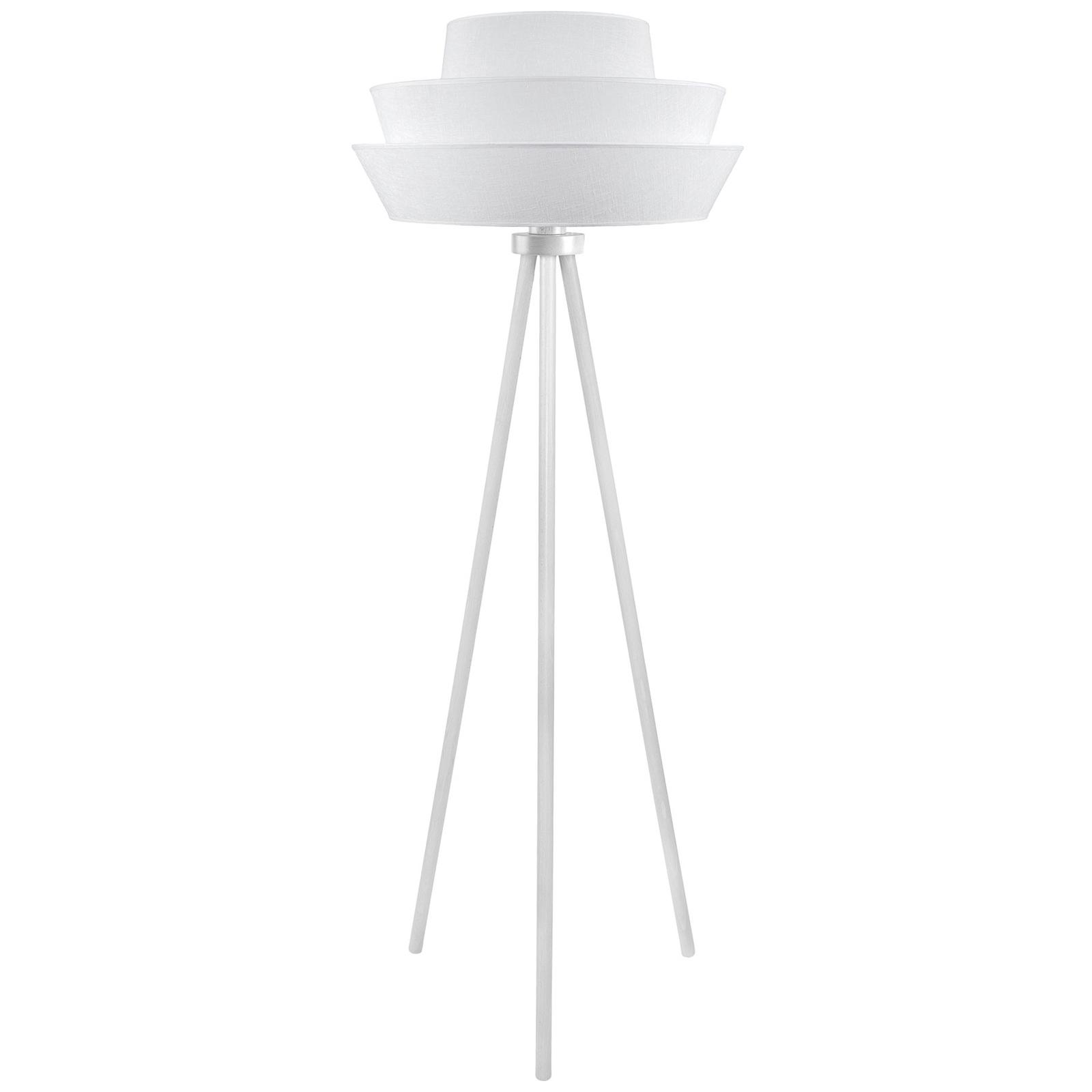 Trebein-gulvlampe Lotos, hvit