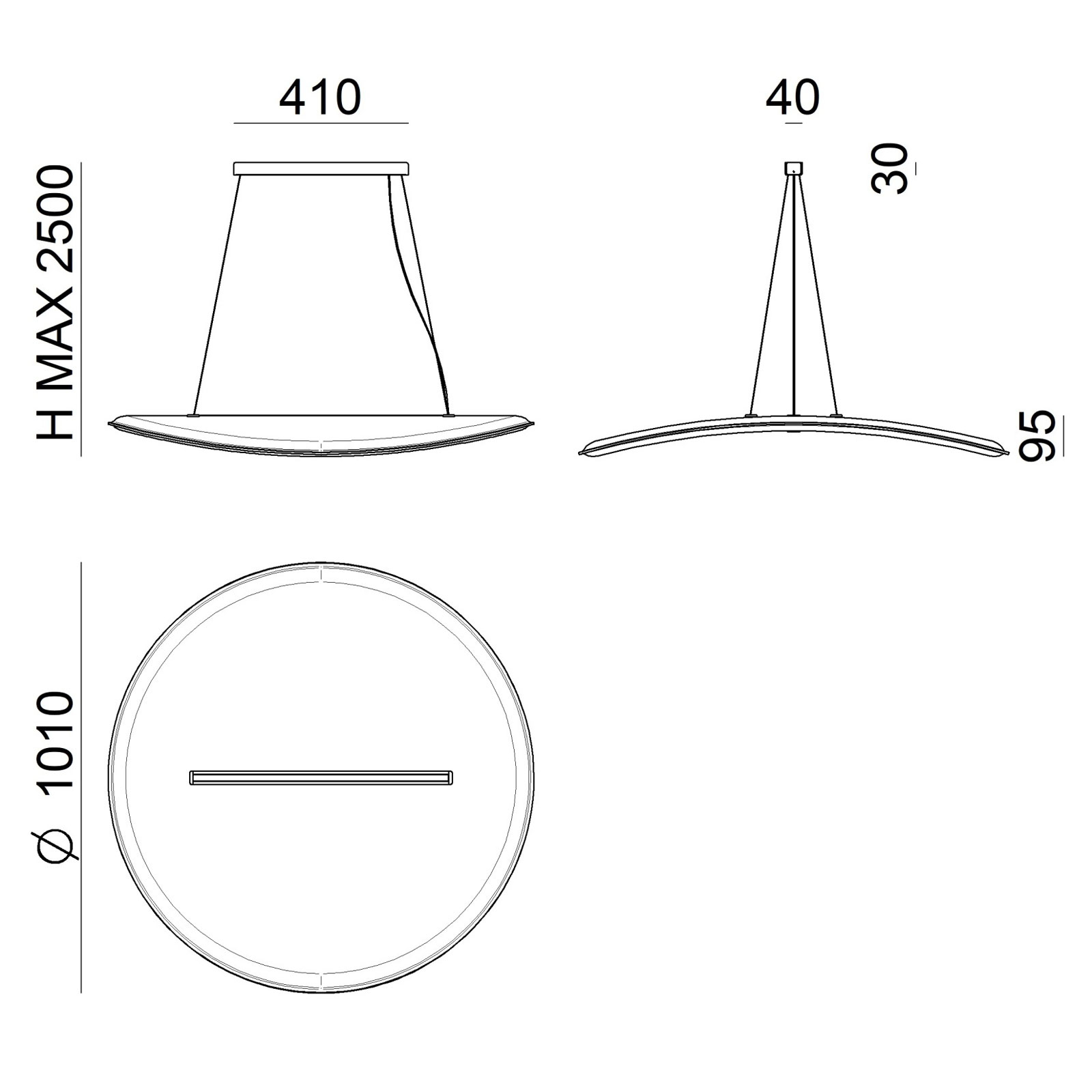 Lampa wisząca LED Derby, filtr darklight, szara