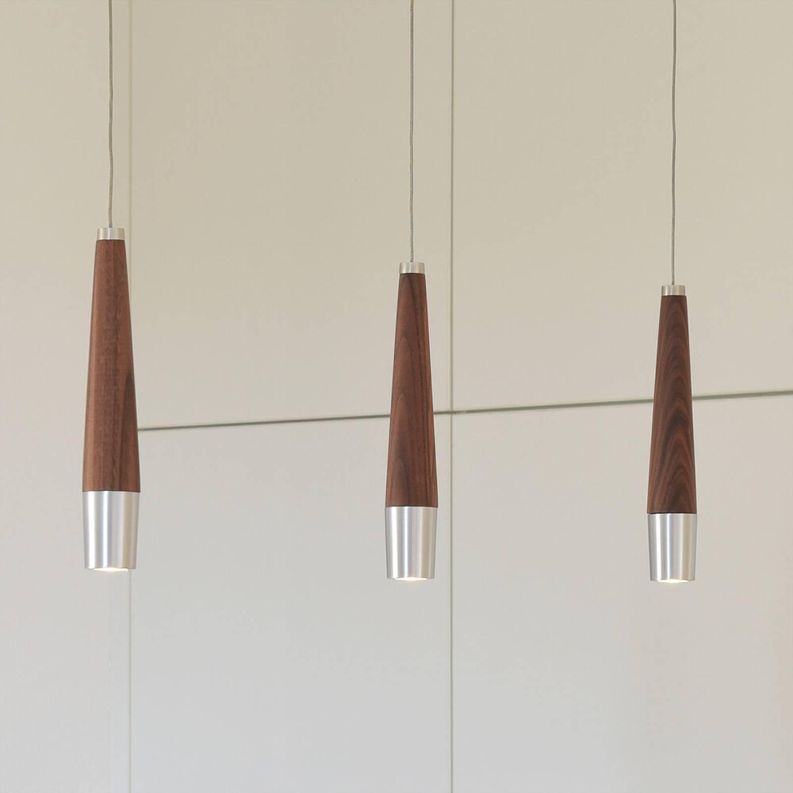 HerzBlut Conico LED hanglamp noten, 3-lamps