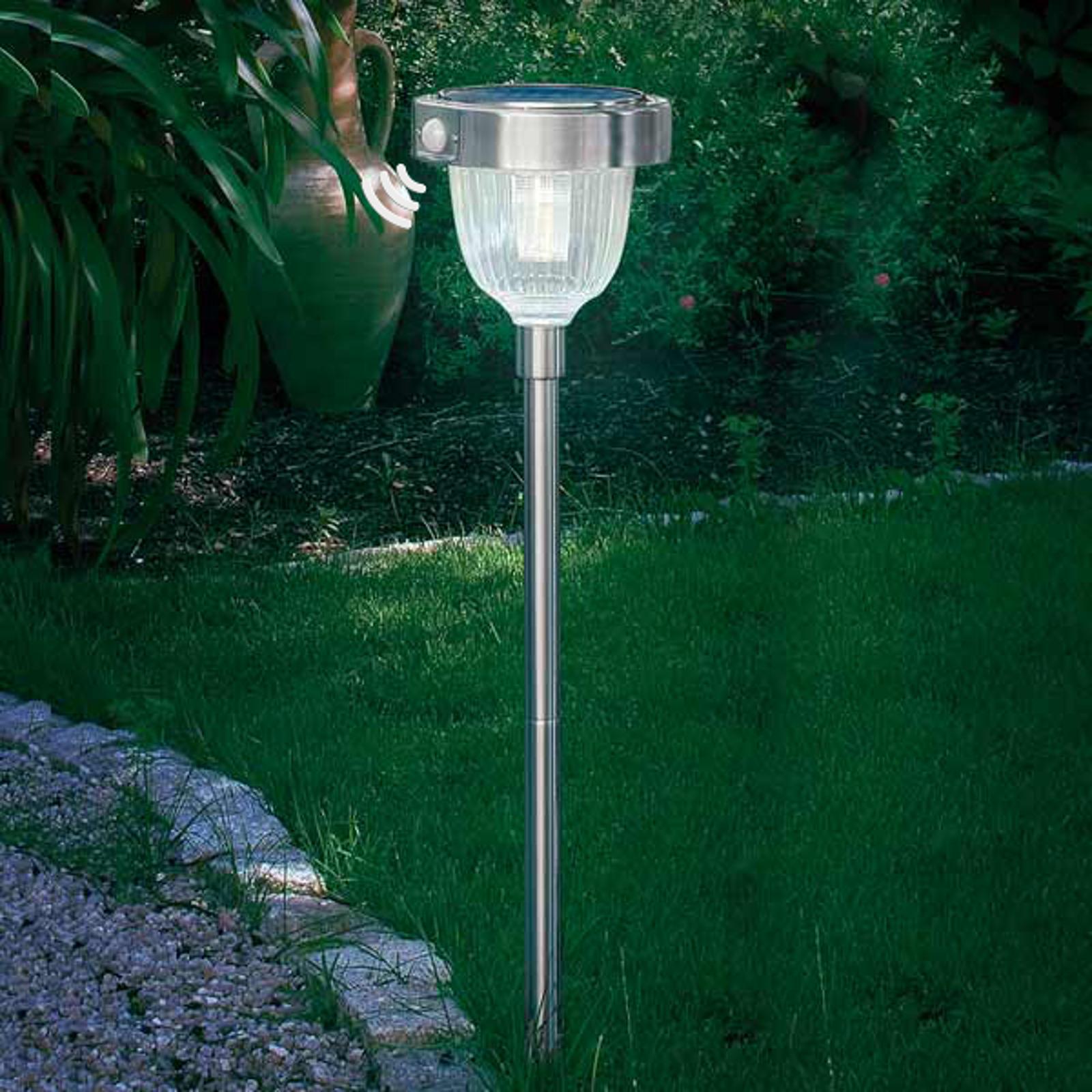 Solární LED lampa Asinara s PIR senzorem, nerez