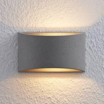 Lindby Edvin kinkiet LED z betonu, półokrągły