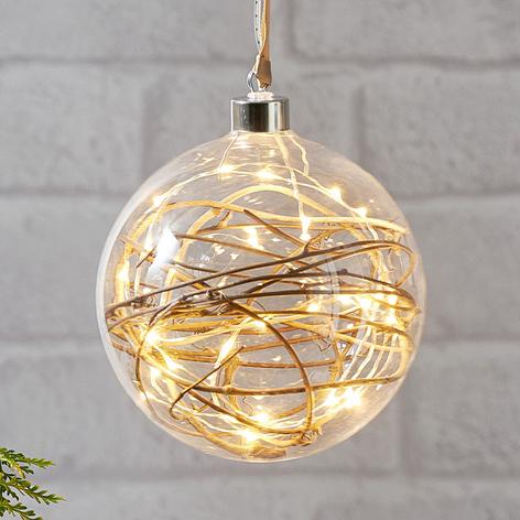 Sphère déco LED Glow transparente, rotin