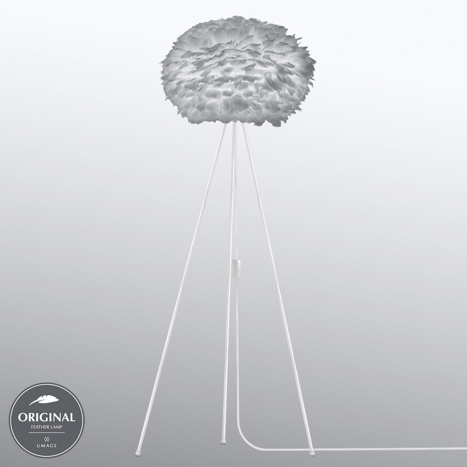 UMAGE Eos medium lampadaire trépied gris clair