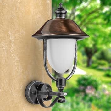 Peggy-udendørsvæglampe m kobberskærm,opretstående