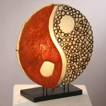 Tischleuchte Ying Yang auf Holzfuß 33 cm