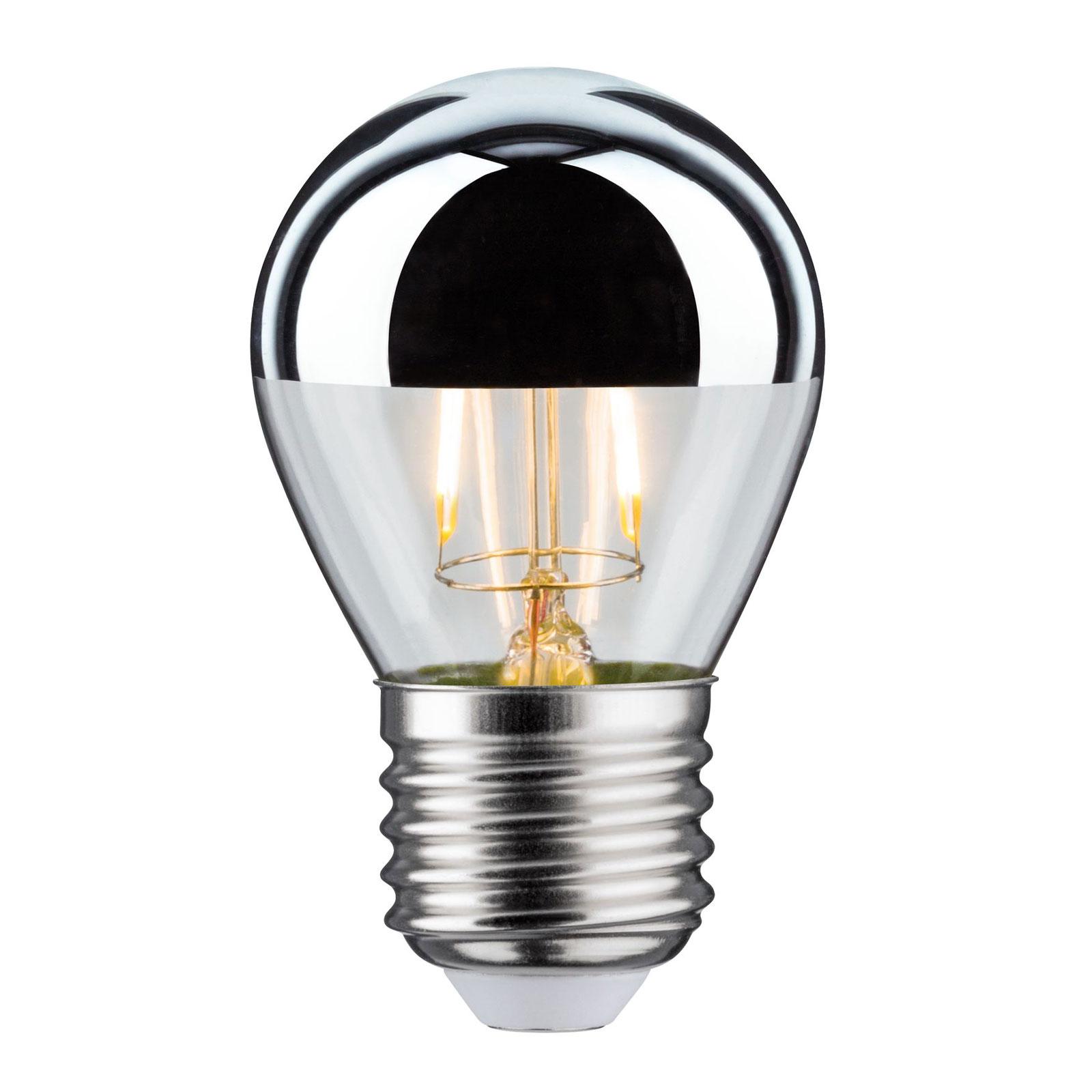 LED žárovka zrcadlená E27 kapka 827 stříbrná 2,6W