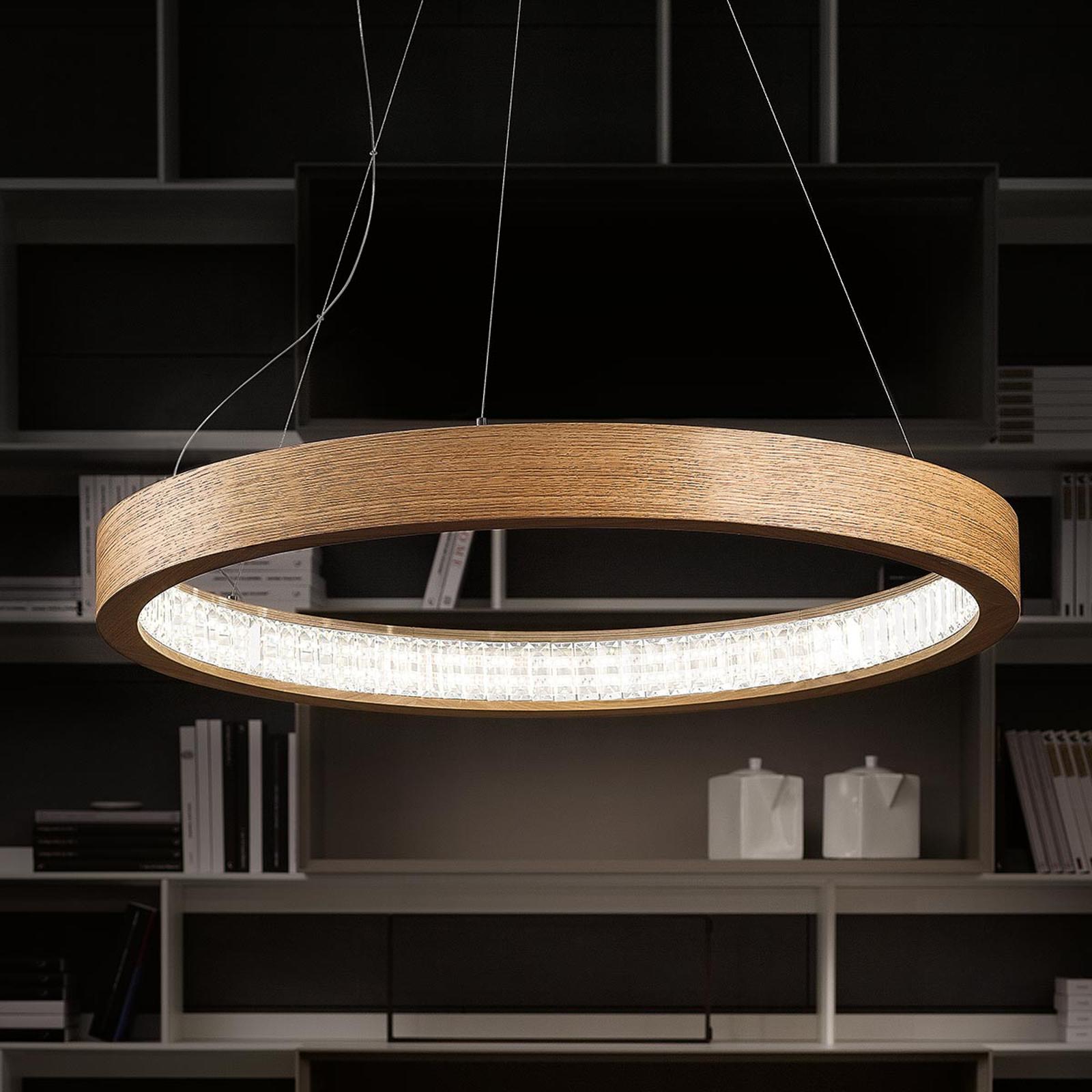 Natuurlijke LED hanglamp Libe Round, 90 cm